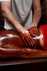 Beautiful young woman getting chocolate massage at spa