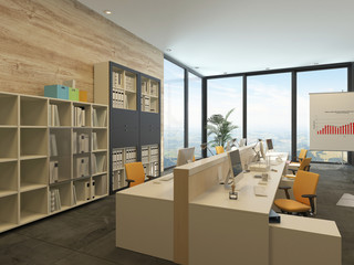 Modern open-plan office with multiple workstations