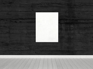 Conceptual White Board on Wall in an Empty Room