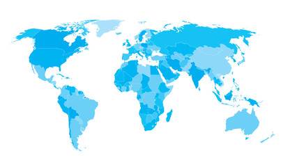 World map countries white outline cyan EPS10 vector