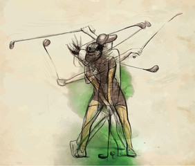 Golfer - Hand drawn illustration converted into vector