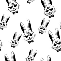 rabbit hipster black and white seamless pattern vector