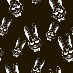 Rabbit hipster hand drawn seamless pattern vector