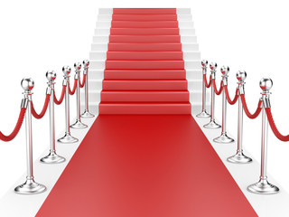Obraz Staircase and red carpet between two metallic stanchions with ro - fototapety do salonu