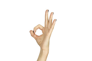 female hand making ok sign isolated over white