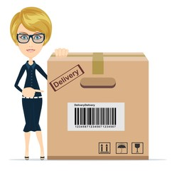 Business woman pointing to a large cardboard box.