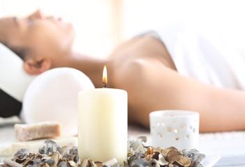 Fototapeta Aromaterapia, relaks w gabinecie odnowy biologicznej obraz