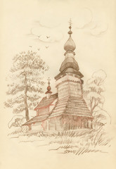 Hand drawn old wooden church