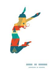 Vector vibrant ikat stripes jumping girl silhouette pattern