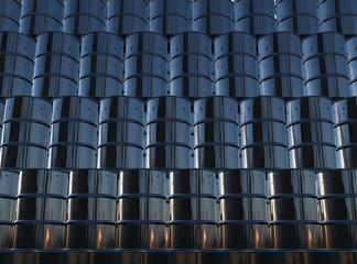 Black oil barrels wall