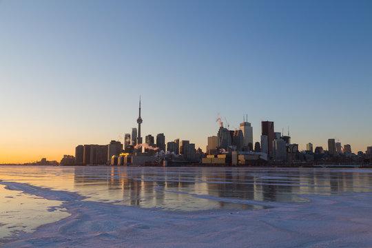 Toronto Skyline at Sunset in the Winter
