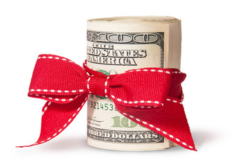 Vertical Roll Of One Hundred Dollar Bills Tied With Red Ribbon