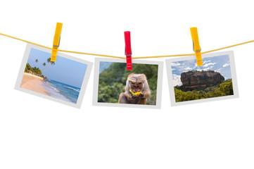 Three photos of Sri Lanka on clothesline