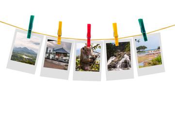 Five photos of Sri Lanka on clothesline