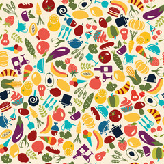 Vector Pattern  Food and beverages  background