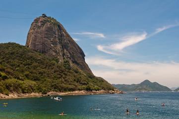 Blue Sea, Red Beach, and Sugarloaf Mountain in Rio de Janeiro