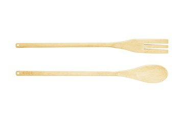 wooden kitchen spoons on white background