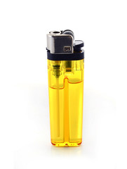 yellow lighter isolated on a white background