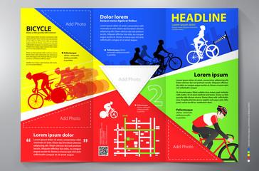 Brochure leaflet design tri-fold vector template.