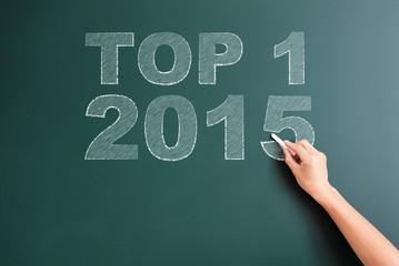 top 1 2015 written on blackboard