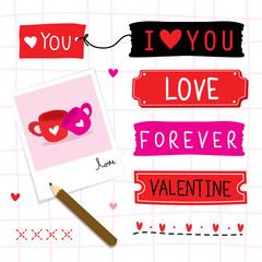Valentine I Love You Sweetheart Cute Cartoon Vector