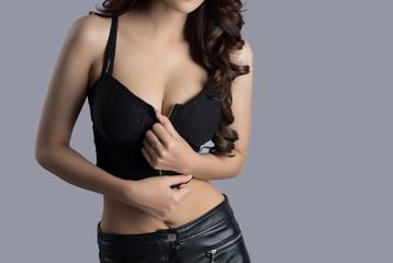 female model body wearing a leather dress