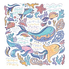 Colorful sea illustration