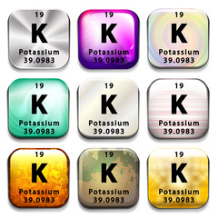 A button showing the element Potassium