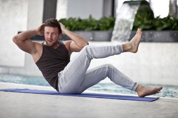 Man on Abdominals workout posture