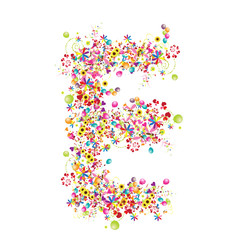 Floral letter E for your design.