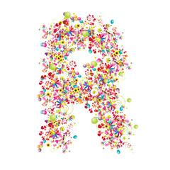 Floral letter R for your design.