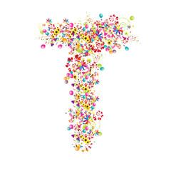 Floral letter T for your design.