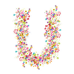 Floral letter U for your design.