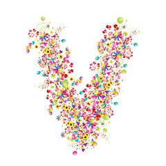 Floral letter V for your design.