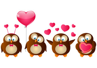 Set of Valentines day owls