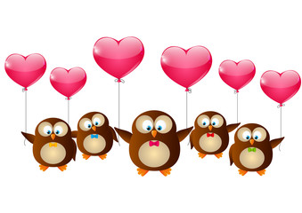 Valentines day owls with pink ballons