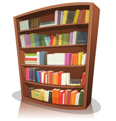 Cartoon Library Bookshelf