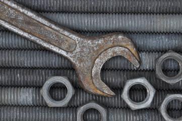 Metal tools screws nuts and key