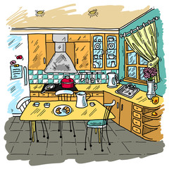 Kitchen Colored Sketch