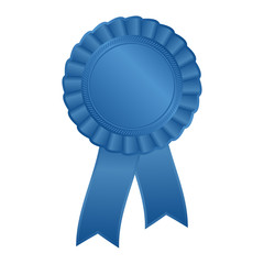 blue blank award rosette with ribbon