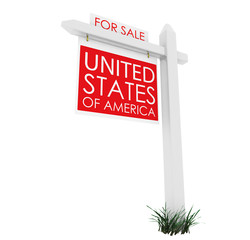 3d: Real Estate Sign: USA for Sale