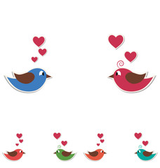 Two cute birds keep the word love isolated on white background