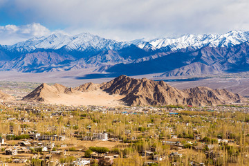 View of Leh city, the capital of Ladakh, India