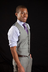 Black businessman smiling at the camera