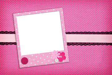 Photo frame on pink polka dot background