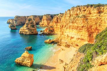 A view of a cliffs near Lagos City, Algarve region, Portugal, Eu Wall mural