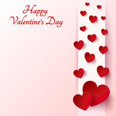 Valentines Day -  Red Heart on light background - vector illustr