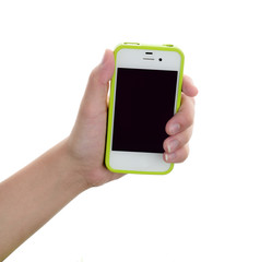 Hand holding a smart phone isolated on white