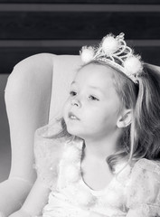 Little girl in princess dress in black and white