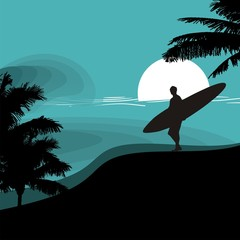 surfer surfboard & summer beach